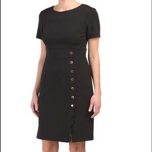 IVANKA TRUMP Crepe Dress w/Scalloped Buttons Sz 8